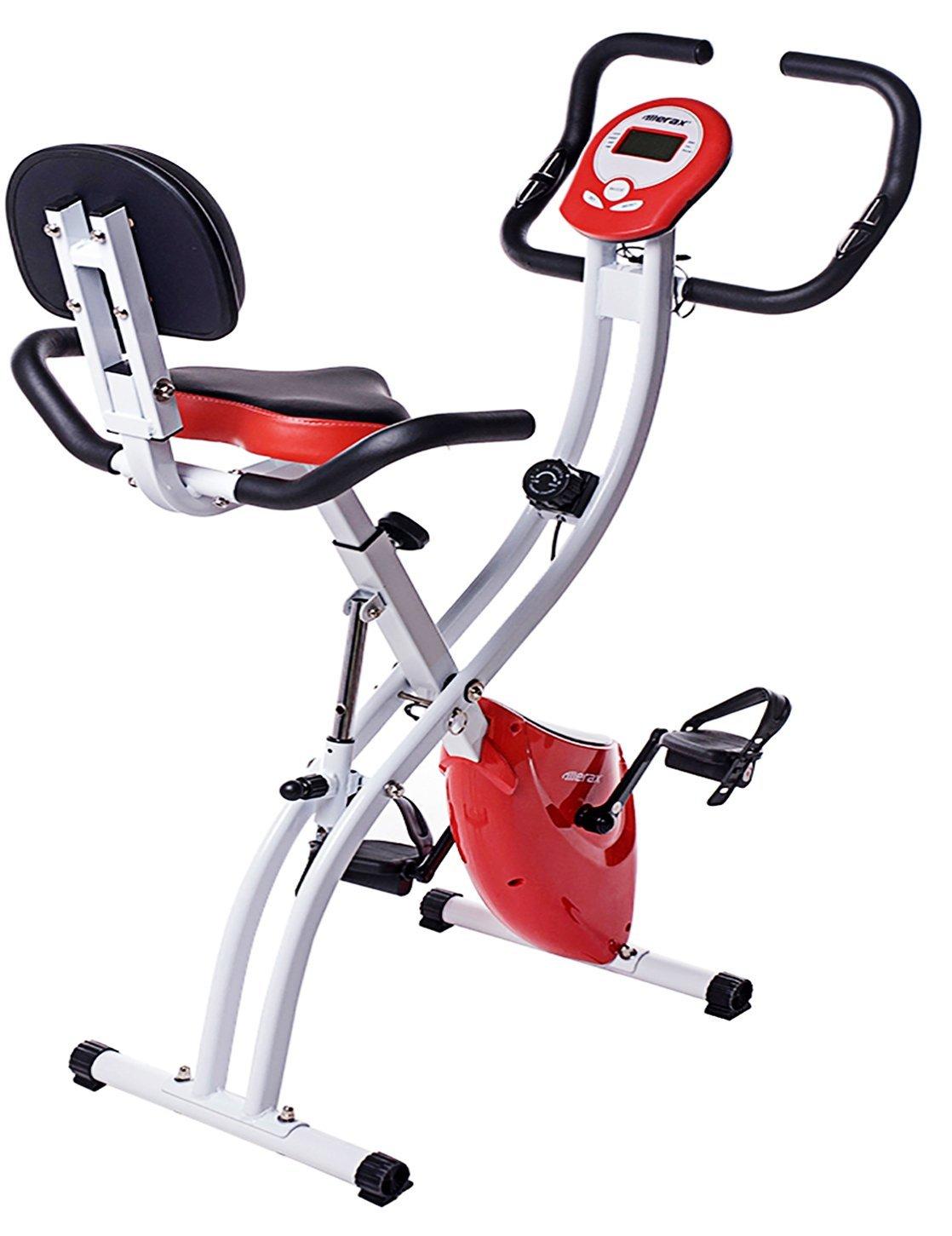Merax Folding Adjustable Magnetic Upright Exercise Bike Fitness Machine