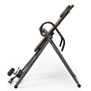 Invertio Adjustable Folding Inversion Table w Padded Backrest for Back Fitness