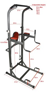 I J Fitness VKR Chin up : Push-up : Pull up : Dip :Ab Workout Deluxe Power Tower Station