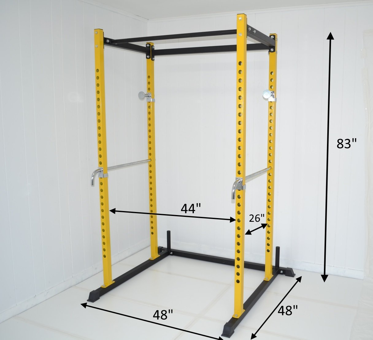 Yellow and Black Atlas Power Rack Squat Deadlift Cage with Bench Racks