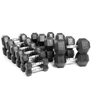 XMark 5 lb. to 50 lb. Rubber Hex Dumbbell Set XM-3301