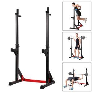 Ollieroo Multi-function Barbell Rack Dip Stand Gym Squat Rack