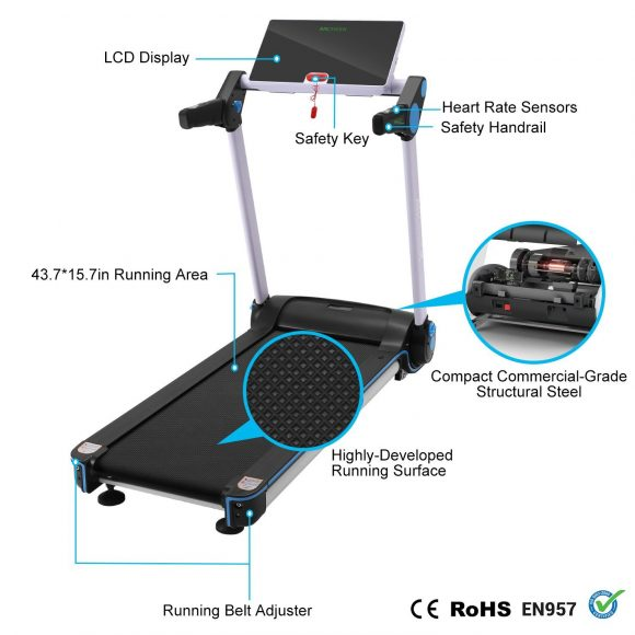 ANCHEER S6500 Treadmill App Control Rotatable Touch Screen