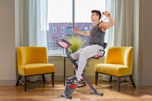 PLENY Upright Stationary Exercise Bike with Arm Exercise Resistance Bands