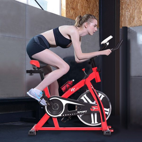 Goplus Adjustable Exercise Bike with 18 lb Flywheel