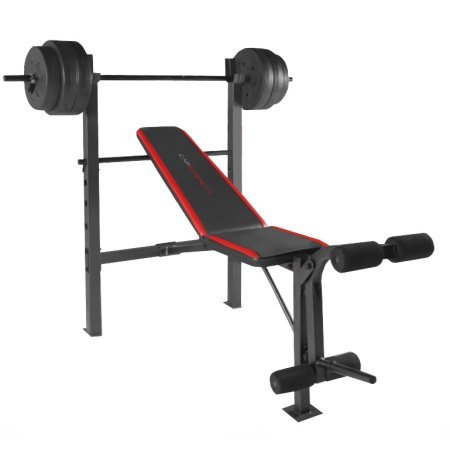 cap barbell weight bench and 100lb weights set