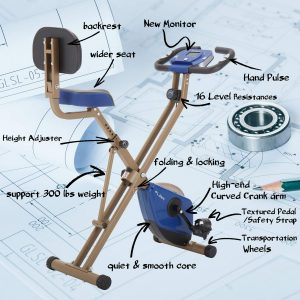 PLENY Foldable Upright Exercise Bike