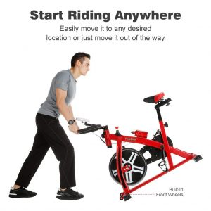Red and black Finether Exercise Bike Transport Wheels