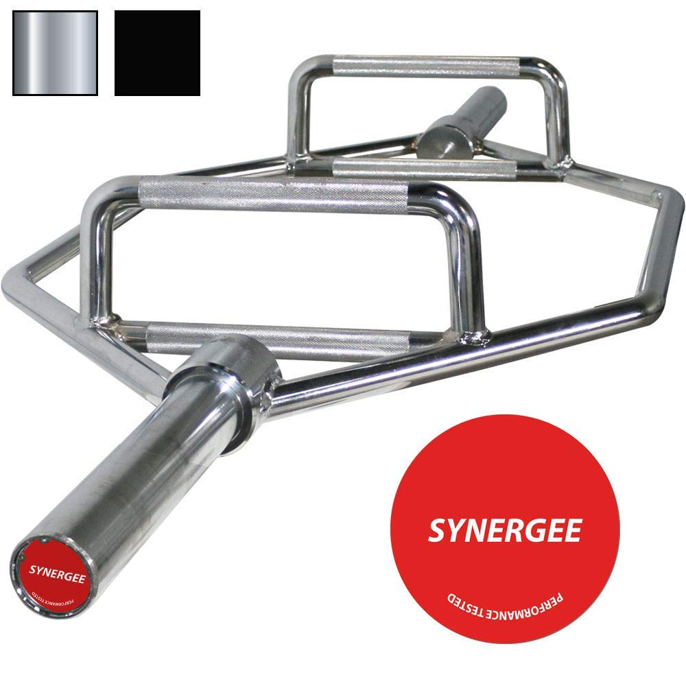 iheartsynergee 25kg Chrome & Black Olympic Hex Barbell