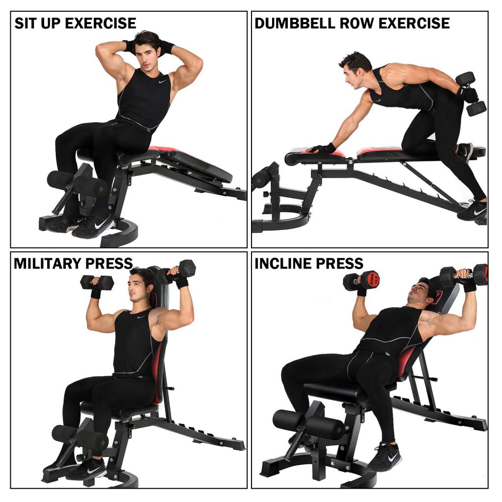 Vanswe Adjustable FID Weight Bench Exercises