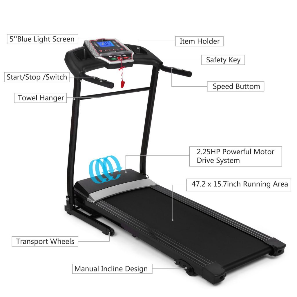 Flyerstoy Folding Electric Fitness Jogging Treadmill