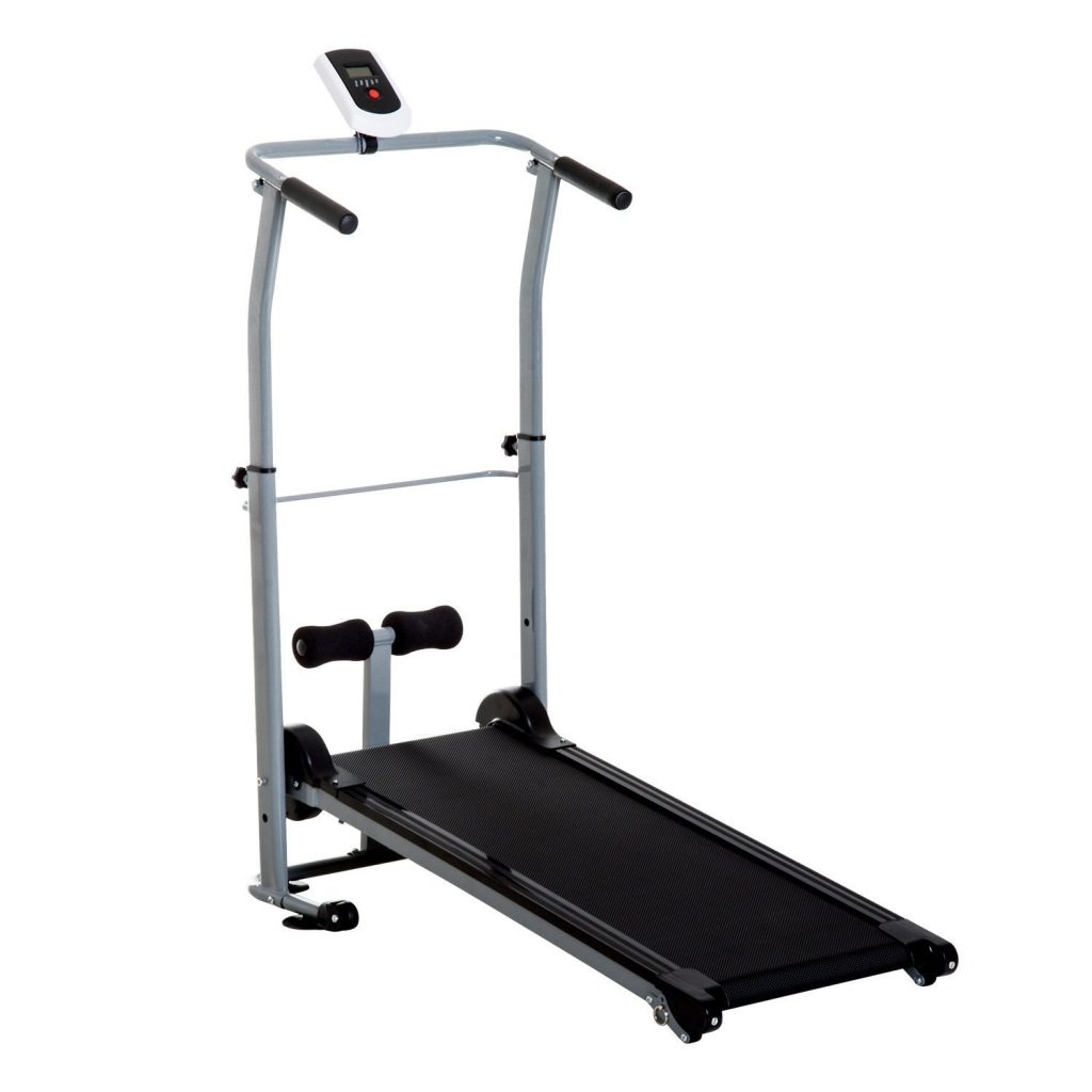 Soozier Folding 2-in-1 Manual Walking Incline Treadmill and Sit Up