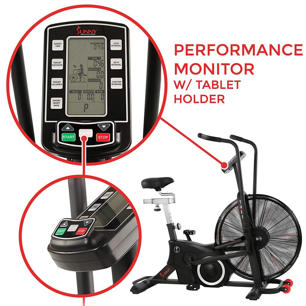 Sunny Health & Fitness SF-B2729 Exercise Tornado Fan Air Bike Performance Monitor