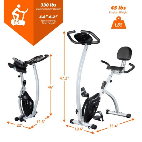 BCAN Folding Magnetic Upright Exercise Bike
