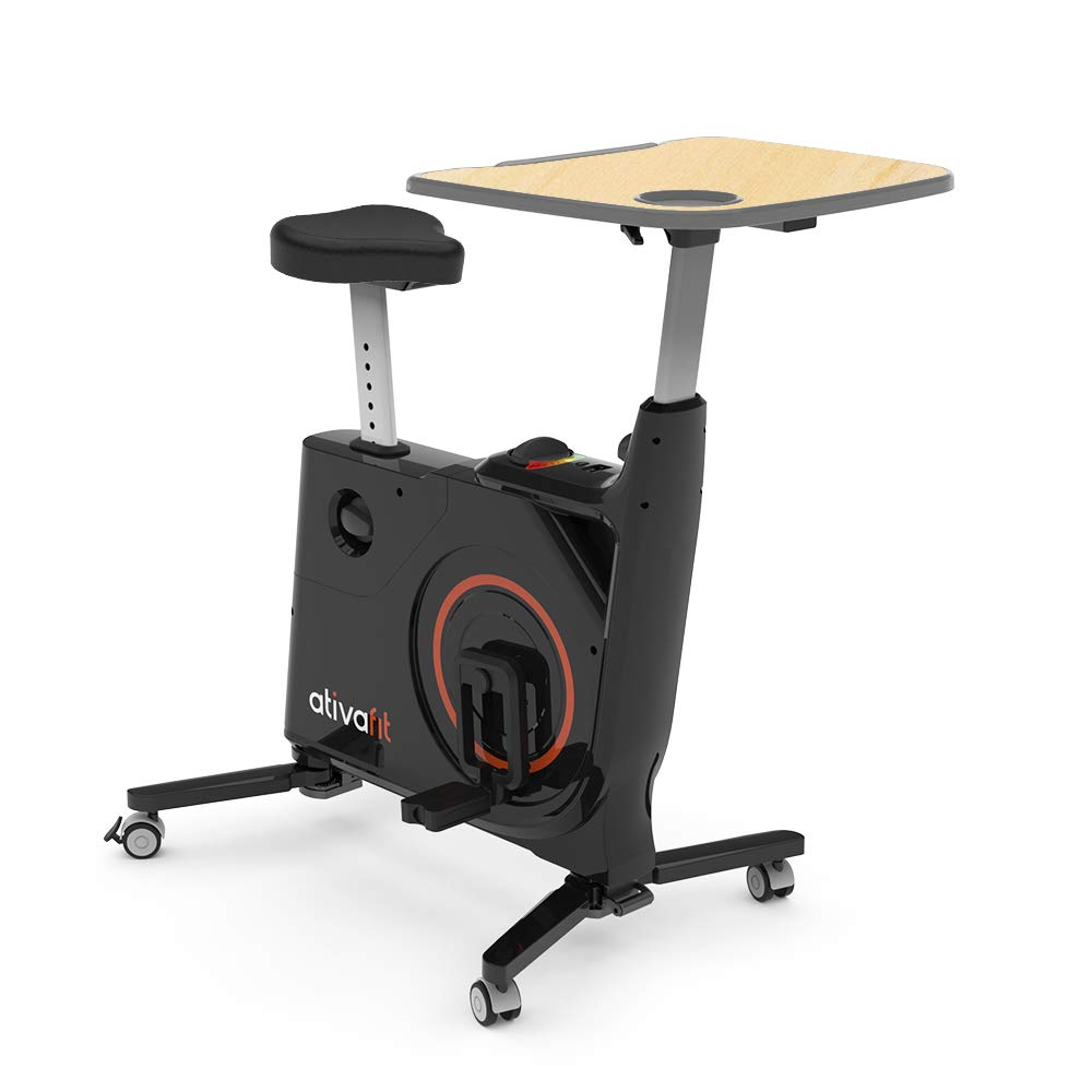 AtivaFit Folding Home Fitness Bike with Desk