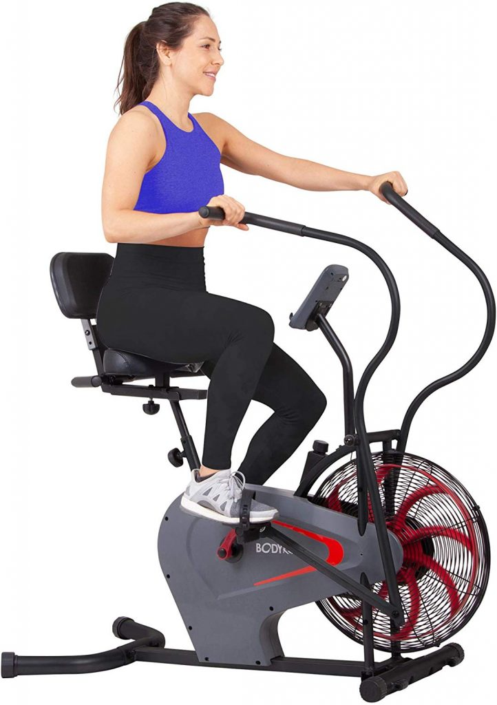Body Rider BRF980 Stationary Upright Air Resistance Fan Bike with Curve-Crank