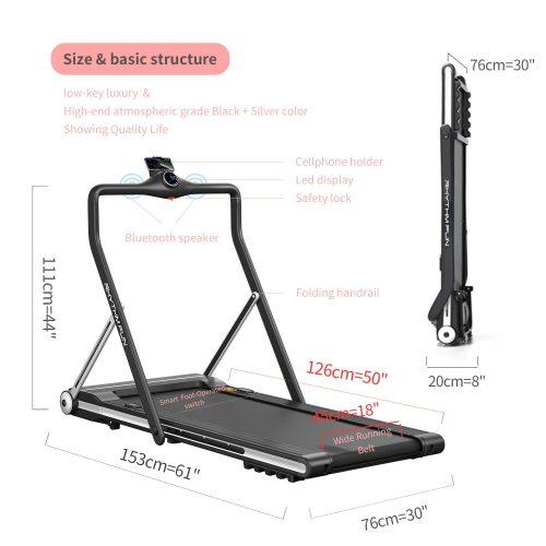 RHYTHM FUN Folding Under Desk Walking Running Treadmill