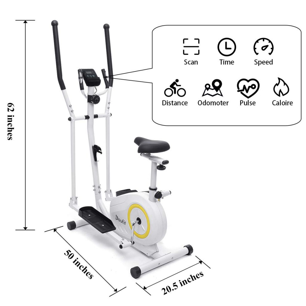 Doufit Elliptical Machine for Home Use, Portable Elliptical LCD Display