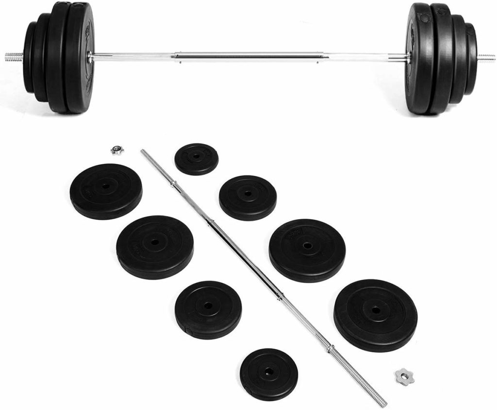 GYMAX Barbell Weight Set, 132 LBS