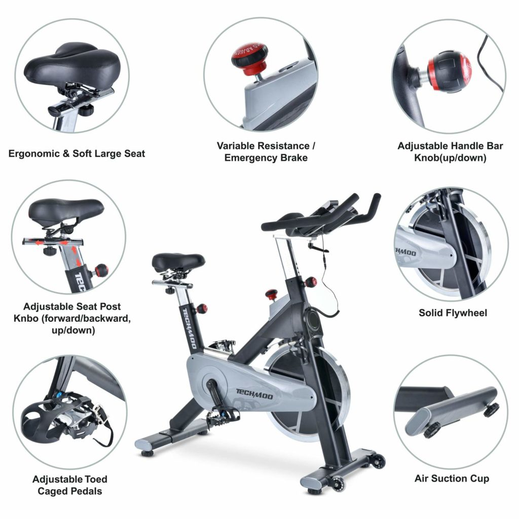 TECHMOO Fitness Upright Exercise Bike Magnetic Belt Drive Features