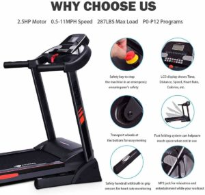 CUIJIUSHILV GoPlus Foldable Heavy-Duty 2.5HP Treadmill