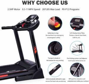 CUIJIUSHILV GoPlus Foldable Heavy-Duty 2.5HP Treadmill
