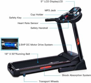CUIJIUSHILV GoPlus Foldable Heavy-Duty Treadmill