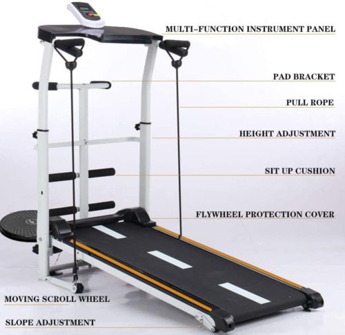 Mechanical Treadmill 4-in-1, with Sit-ups Panel, T-wisting Machine, Draw Rope Features