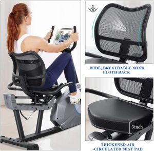 MaxKare Recumbent Exercise Bike with mesh cloth back seat
