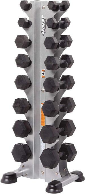 HOIST FITNESS HF-5460 8 Pair Vertical Dumbbell Rack HEX Dumbbells Only