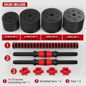 Mikolo Adjustable Dumbbell Barbell Weight Pair 88LBS