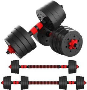 Mikolo Adjustable Dumbbell Barbell Weight Pair Total 88LBS