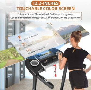 SYTIRY Treadmill with 12-Inch Color Touch Display