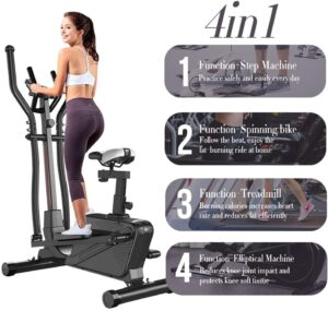 Dripex Cross Trainer (2020 Upgraded) - 4in1 Elliptical Machine