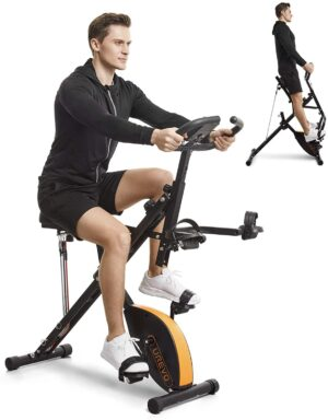 UREVO Stationary Exercise Bike Foldable 3 in 1
