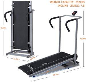 BLH Treadmill Foldable Manual Walking Running Dimensions