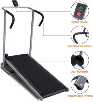 BLH Treadmill Foldable Manual Walking Running Machine